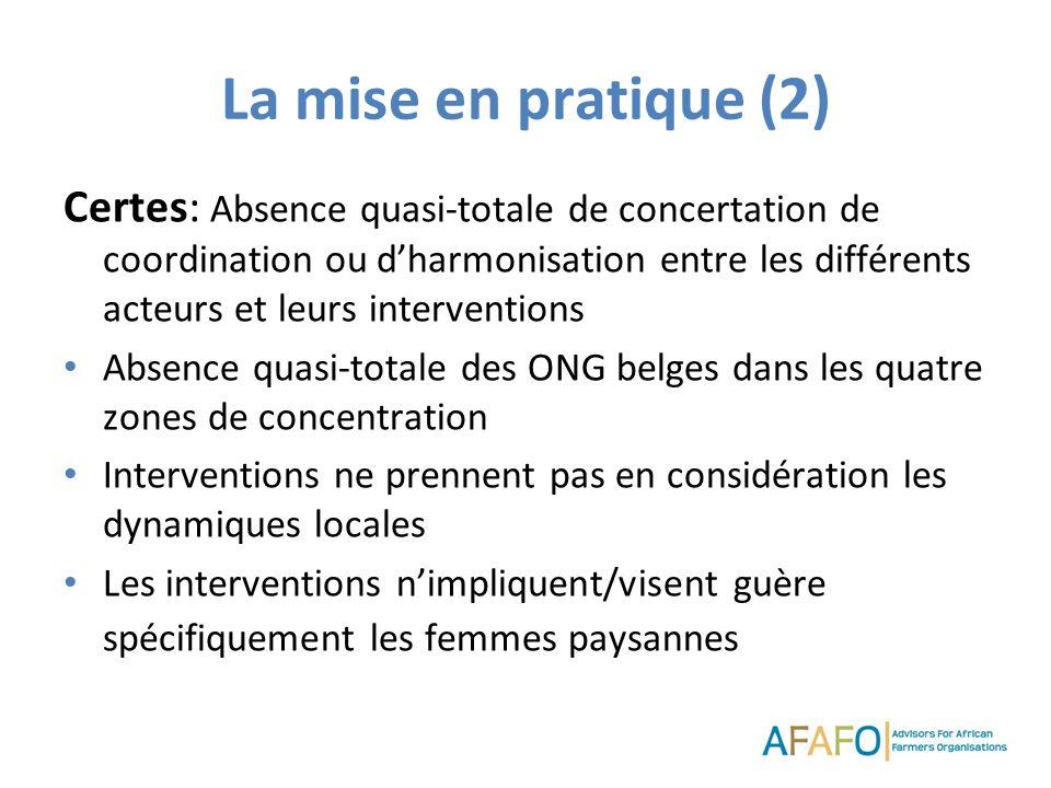 La mise en pratique (2) Certes: Absence quasi-totale de concertation de coordination ou dharmonisation entre les différents acteurs et leurs intervent