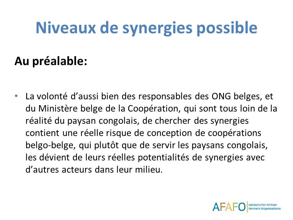Niveaux de synergies possible Au préalable: La volonté daussi bien des responsables des ONG belges, et du Ministère belge de la Coopération, qui sont