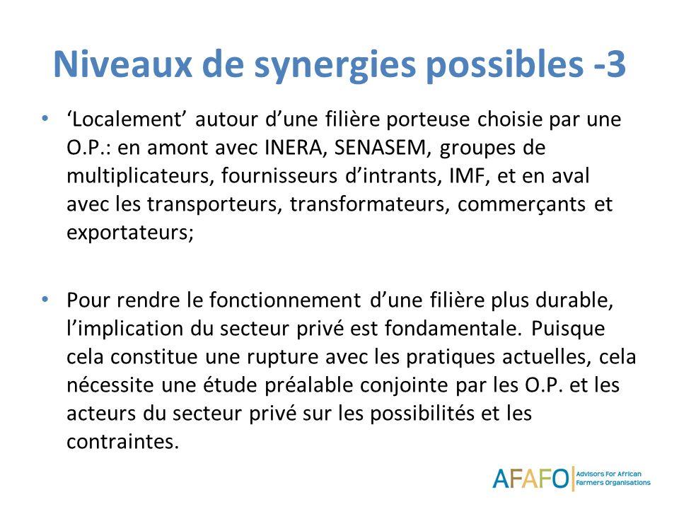 Niveaux de synergies possibles -3 Localement autour dune filière porteuse choisie par une O.P.: en amont avec INERA, SENASEM, groupes de multiplicateu