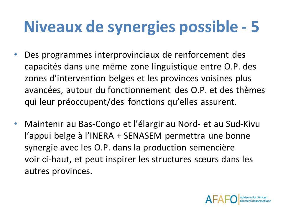 Niveaux de synergies possible - 5 Des programmes interprovinciaux de renforcement des capacités dans une même zone linguistique entre O.P. des zones d