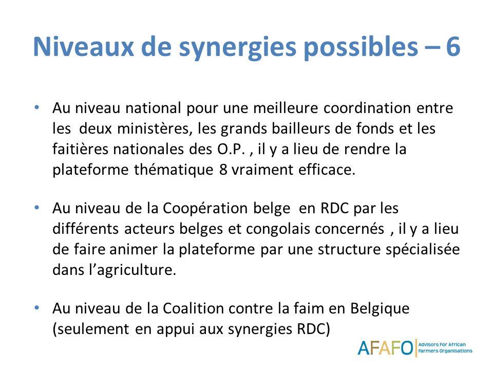 Niveaux de synergies possibles – 6 Au niveau national pour une meilleure coordination entre les deux ministères, les grands bailleurs de fonds et les
