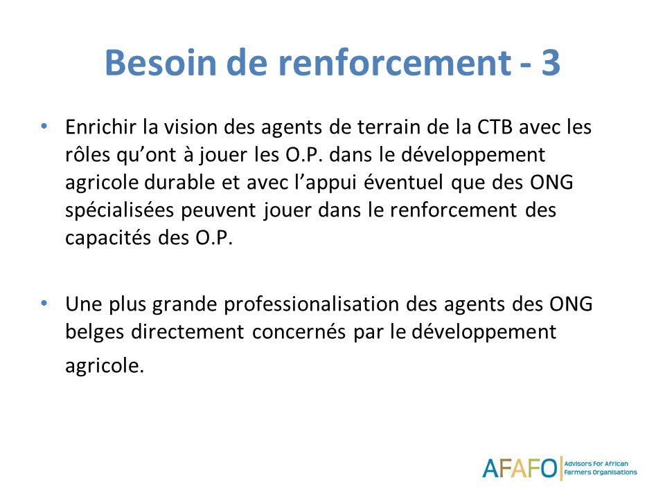 Besoin de renforcement - 3 Enrichir la vision des agents de terrain de la CTB avec les rôles quont à jouer les O.P. dans le développement agricole dur