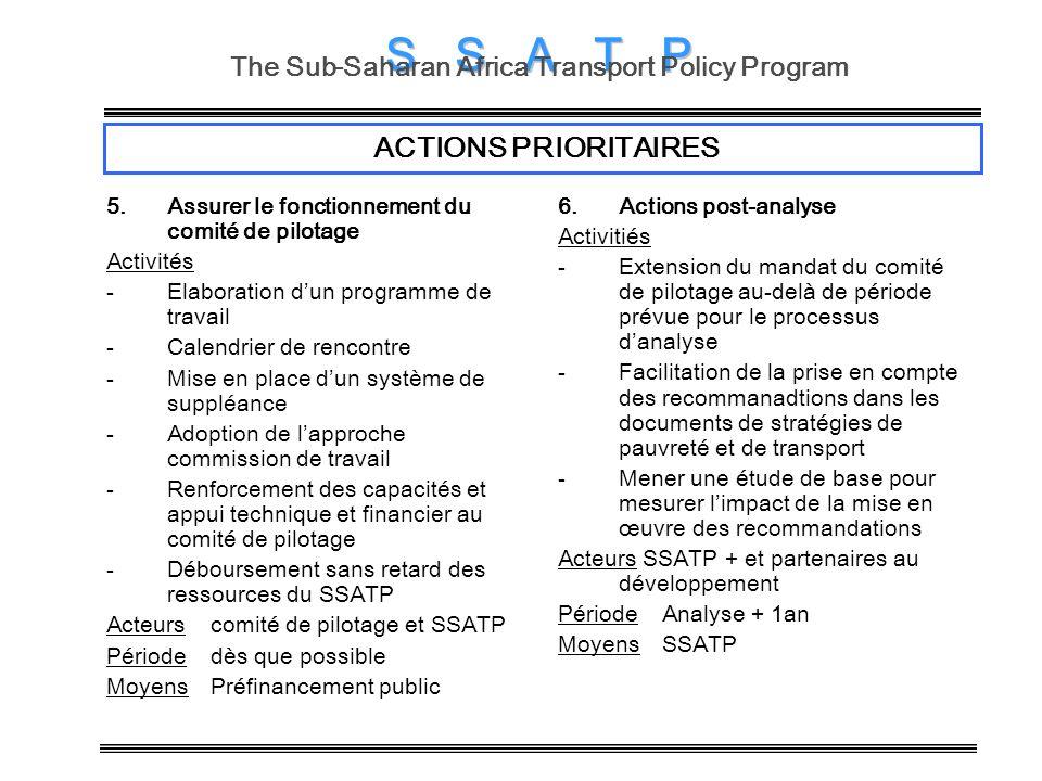S S S A T P The Sub-Saharan Africa Transport Policy Program ACTIONS PRIORITAIRES 5.Assurer le fonctionnement du comité de pilotage Activités -Elaborat