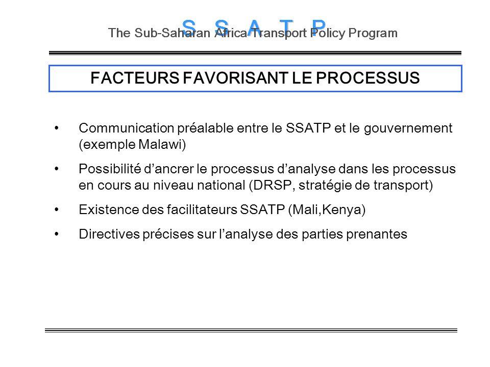 FACTEURS FAVORISANT LE PROCESSUS Communication préalable entre le SSATP et le gouvernement (exemple Malawi) Possibilité dancrer le processus danalyse