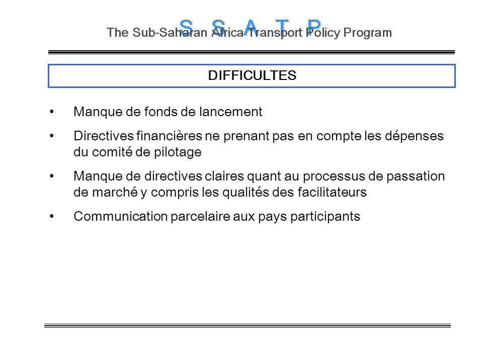 DIFFICULTES Manque de fonds de lancement Directives financières ne prenant pas en compte les dépenses du comité de pilotage Manque de directives clair