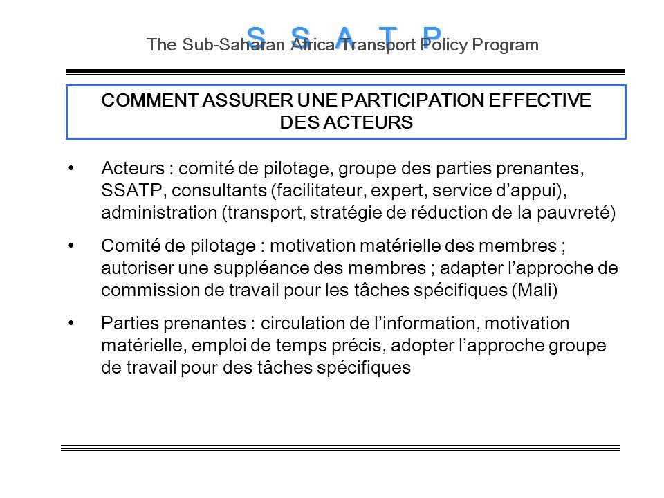COMMENT ASSURER UNE PARTICIPATION EFFECTIVE DES ACTEURS Acteurs : comité de pilotage, groupe des parties prenantes, SSATP, consultants (facilitateur,