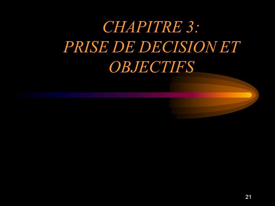 21 CHAPITRE 3: PRISE DE DECISION ET OBJECTIFS