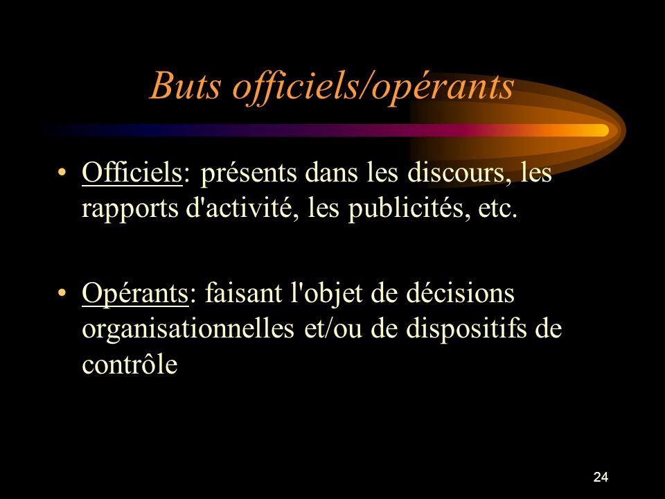 24 Buts officiels/opérants Officiels: présents dans les discours, les rapports d'activité, les publicités, etc. Opérants: faisant l'objet de décisions