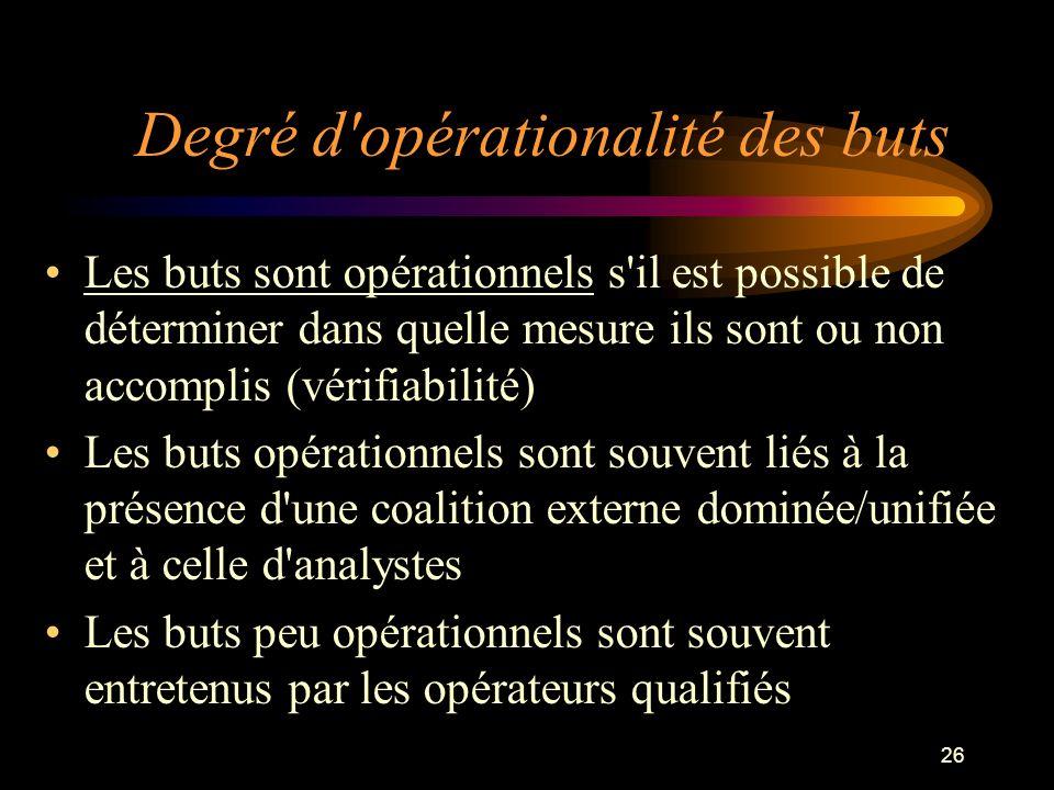 26 Degré d'opérationalité des buts Les buts sont opérationnels s'il est possible de déterminer dans quelle mesure ils sont ou non accomplis (vérifiabi