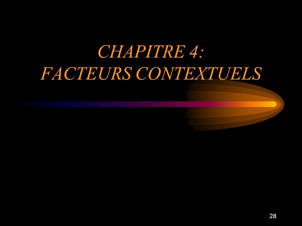28 CHAPITRE 4: FACTEURS CONTEXTUELS