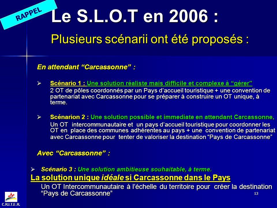 13 Le S.L.O.T en 2006 : Plusieurs scénarii ont été proposés : En attendant Carcassonne : Scénario 1 : Une solution réaliste mais difficile et complexe à gérer Scénario 1 : Une solution réaliste mais difficile et complexe à gérer 2 OT de pôles coordonnés par un Pays daccueil touristique + une convention de partenariat avec Carcassonne pour se préparer à construire un OT unique, à terme.