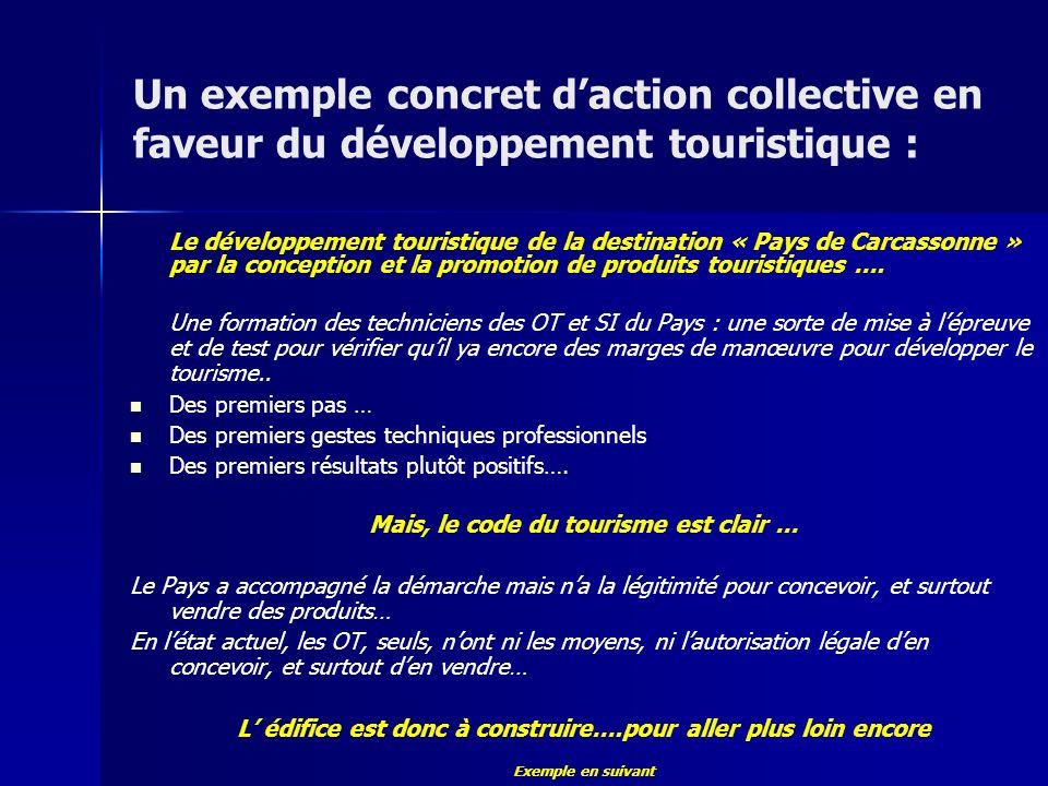 Un exemple concret daction collective en faveur du développement touristique : Le développement touristique de la destination « Pays de Carcassonne » par la conception et la promotion de produits touristiques ….