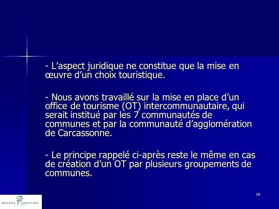 19 - Laspect juridique ne constitue que la mise en œuvre dun choix touristique. - Nous avons travaillé sur la mise en place dun office de tourisme (OT