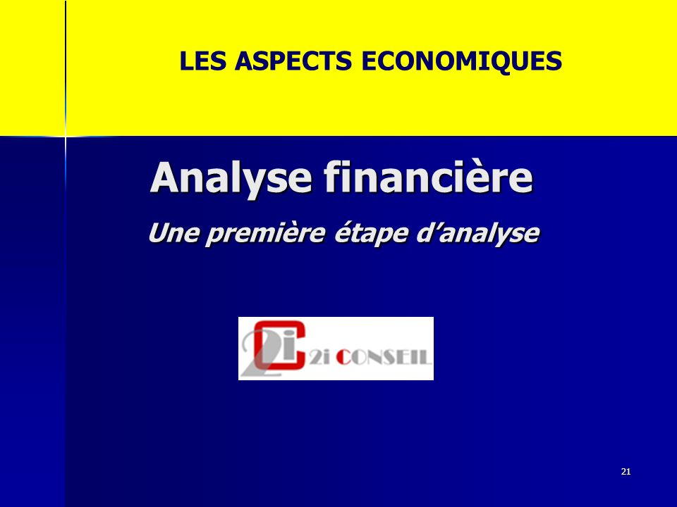 Analyse financière Une première étape danalyse 21 LES ASPECTS ECONOMIQUES