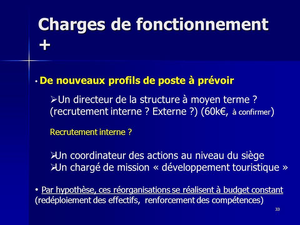 Charges de fonctionnement + 33 De nouveaux profils de poste à prévoir Un directeur de la structure à moyen terme ? (recrutement interne ? Externe ?) (