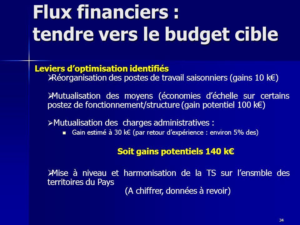 Flux financiers : tendre vers le budget cible Leviers doptimisation identifiés Réorganisation des postes de travail saisonniers (gains 10 k) Mutualisa