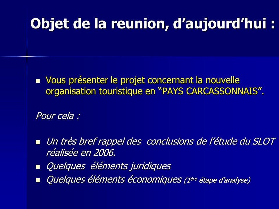 Objet de la reunion, daujourdhui : Vous présenter le projet concernant la nouvelle organisation touristique en PAYS CARCASSONNAIS. Vous présenter le p
