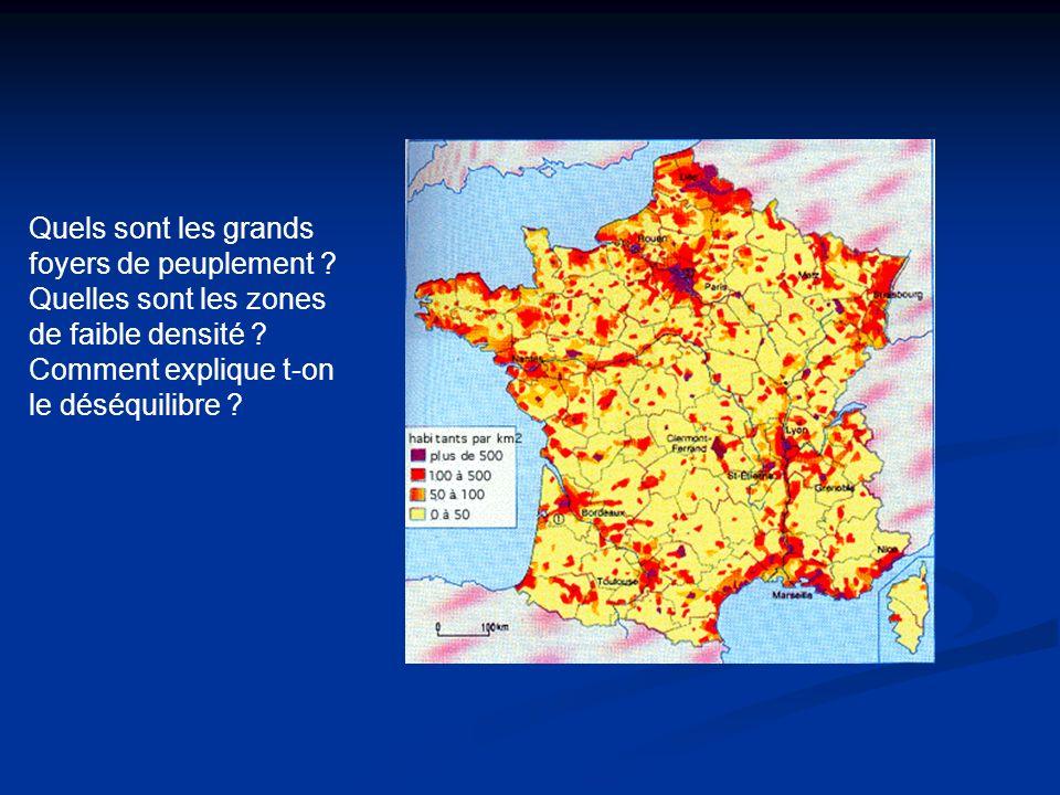 Quels sont les grands foyers de peuplement ? Quelles sont les zones de faible densité ? Comment explique t-on le déséquilibre ?