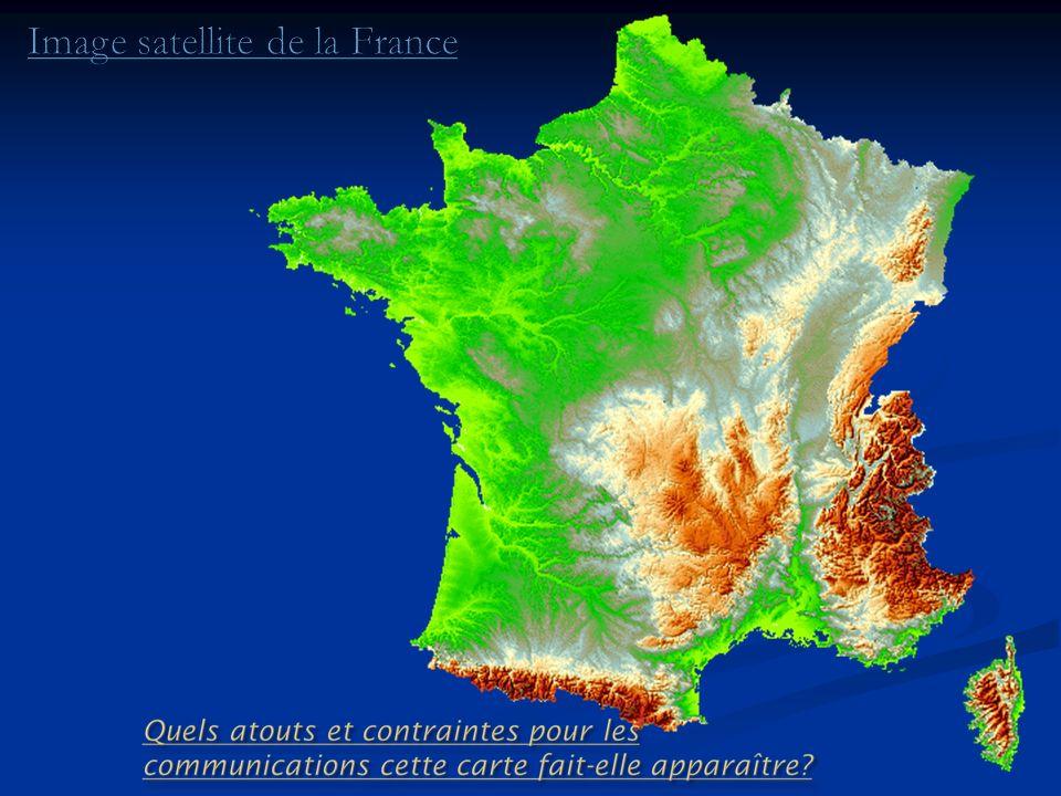 Les contraintes : au Sud et à lEst les altitudes et les contrastes de relief prédominent (Alpes du Sud et surtout le Massif central).