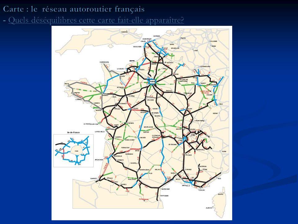 Cette carte confirme laspect répulsif du Massif central Cette carte confirme laspect répulsif du Massif central elle montre surtout que les vallées de la Seine et du Rhône sont des axes majeurs de circulation à léchelle européenne; ils permettent ainsi de relier la mer du Nord et la Méditerranée elle montre surtout que les vallées de la Seine et du Rhône sont des axes majeurs de circulation à léchelle européenne; ils permettent ainsi de relier la mer du Nord et la Méditerranée Il faut surtout noter la très forte attraction quexerce Paris sur les axes de communication français.