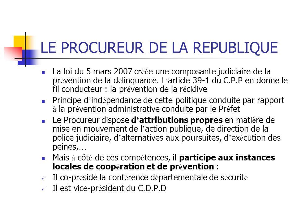 LE PROCUREUR DE LA REPUBLIQUE La loi du 5 mars 2007 cr éé e une composante judiciaire de la pr é vention de la d é linquance. L article 39-1 du C.P.P