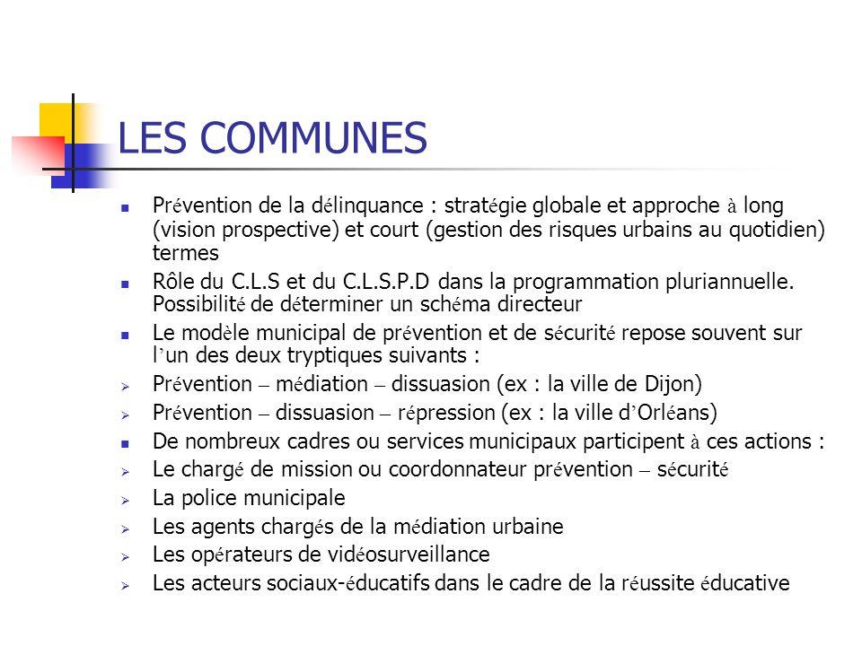 LES COMMUNES Pr é vention de la d é linquance : strat é gie globale et approche à long (vision prospective) et court (gestion des risques urbains au q