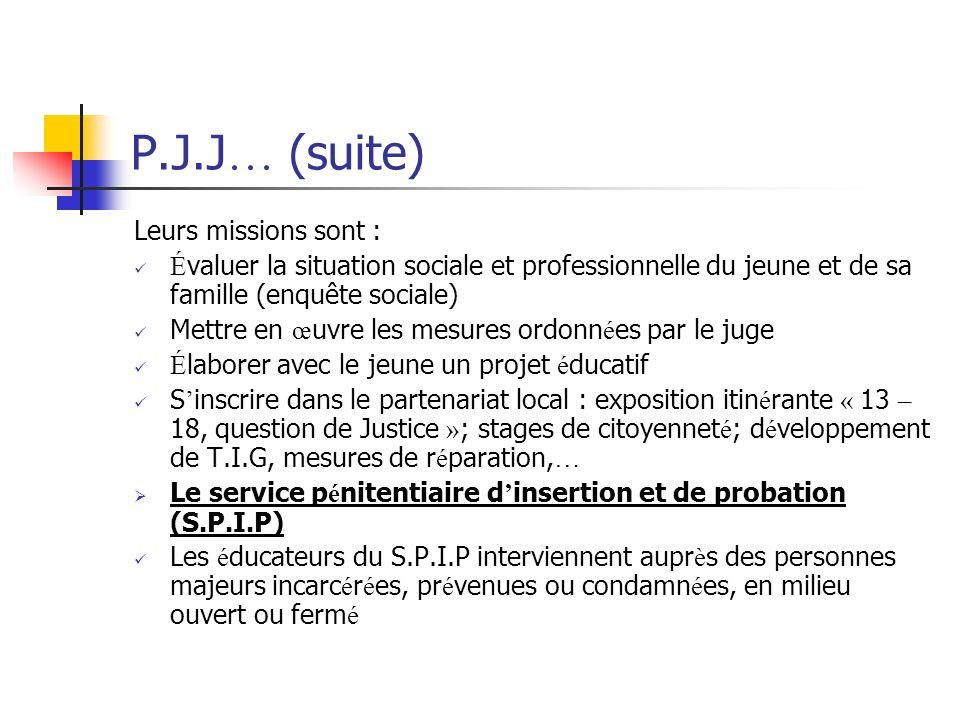 P.J.J … (suite) Leurs missions sont : É valuer la situation sociale et professionnelle du jeune et de sa famille (enquête sociale) Mettre en œ uvre le