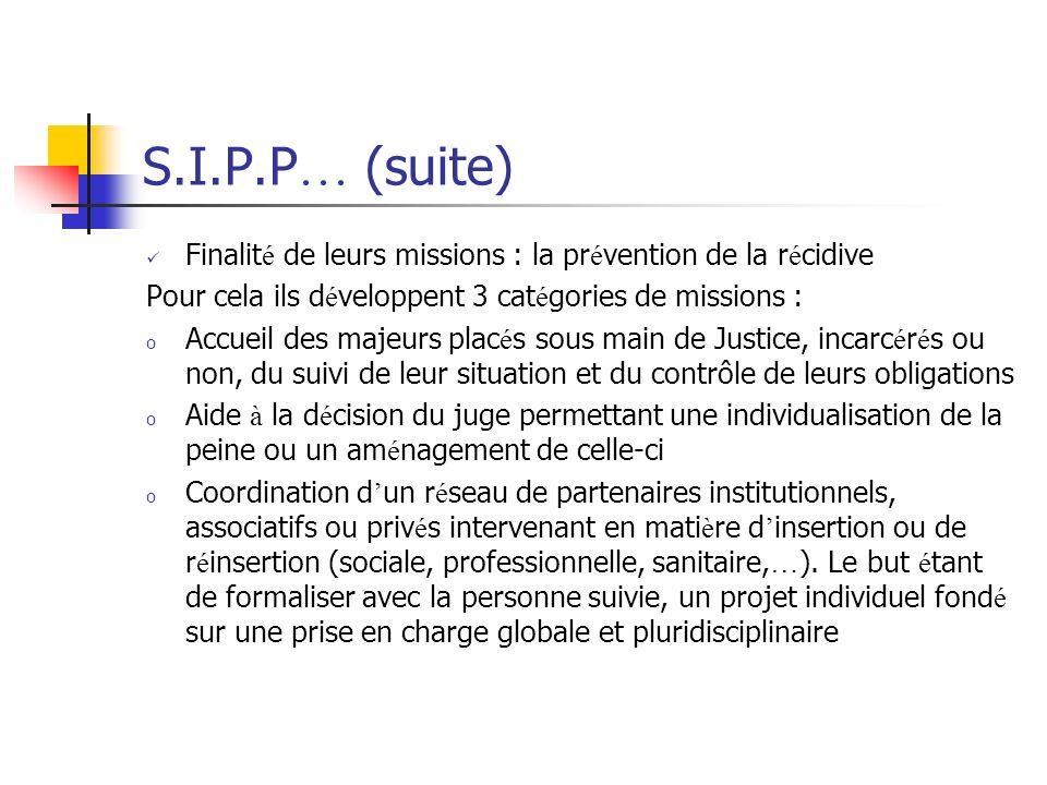 S.I.P.P … (suite) Finalit é de leurs missions : la pr é vention de la r é cidive Pour cela ils d é veloppent 3 cat é gories de missions : o Accueil de
