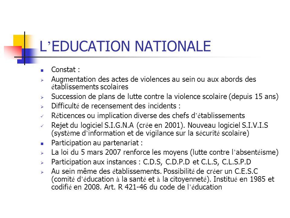 L EDUCATION NATIONALE Constat : Augmentation des actes de violences au sein ou aux abords des é tablissements scolaires Succession de plans de lutte c