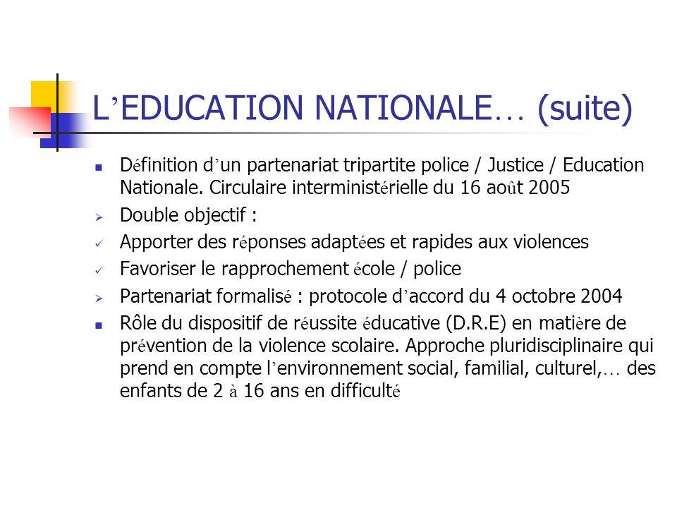 L EDUCATION NATIONALE … (suite) D é finition d un partenariat tripartite police / Justice / Education Nationale. Circulaire interminist é rielle du 16