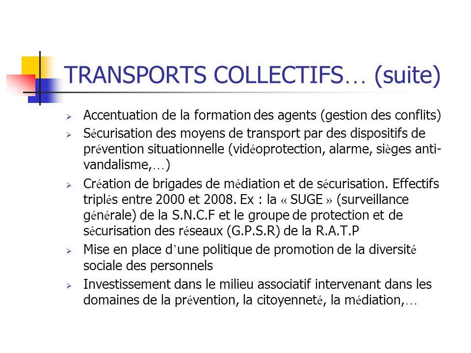 TRANSPORTS COLLECTIFS … (suite) Accentuation de la formation des agents (gestion des conflits) S é curisation des moyens de transport par des disposit