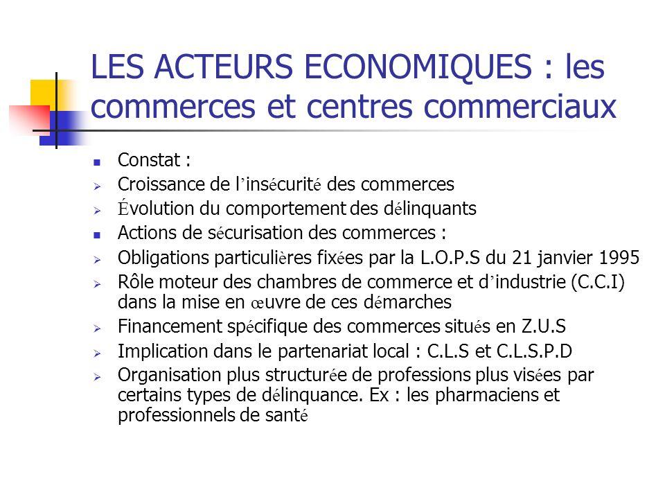 LES ACTEURS ECONOMIQUES : les commerces et centres commerciaux Constat : Croissance de l ins é curit é des commerces É volution du comportement des d