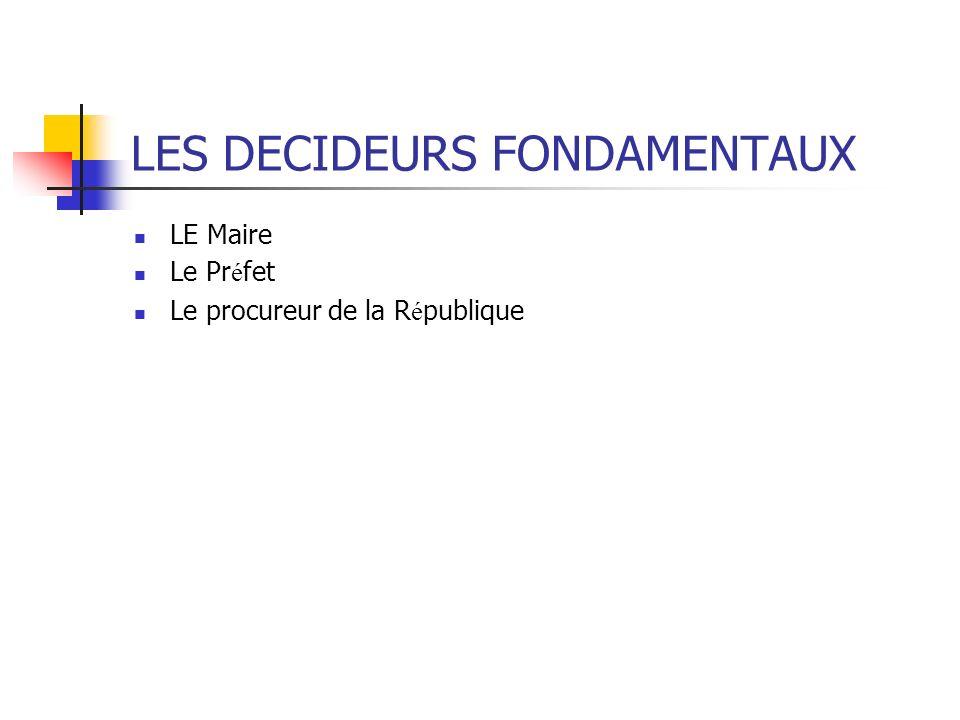 LES DECIDEURS FONDAMENTAUX LE Maire Le Pr é fet Le procureur de la R é publique