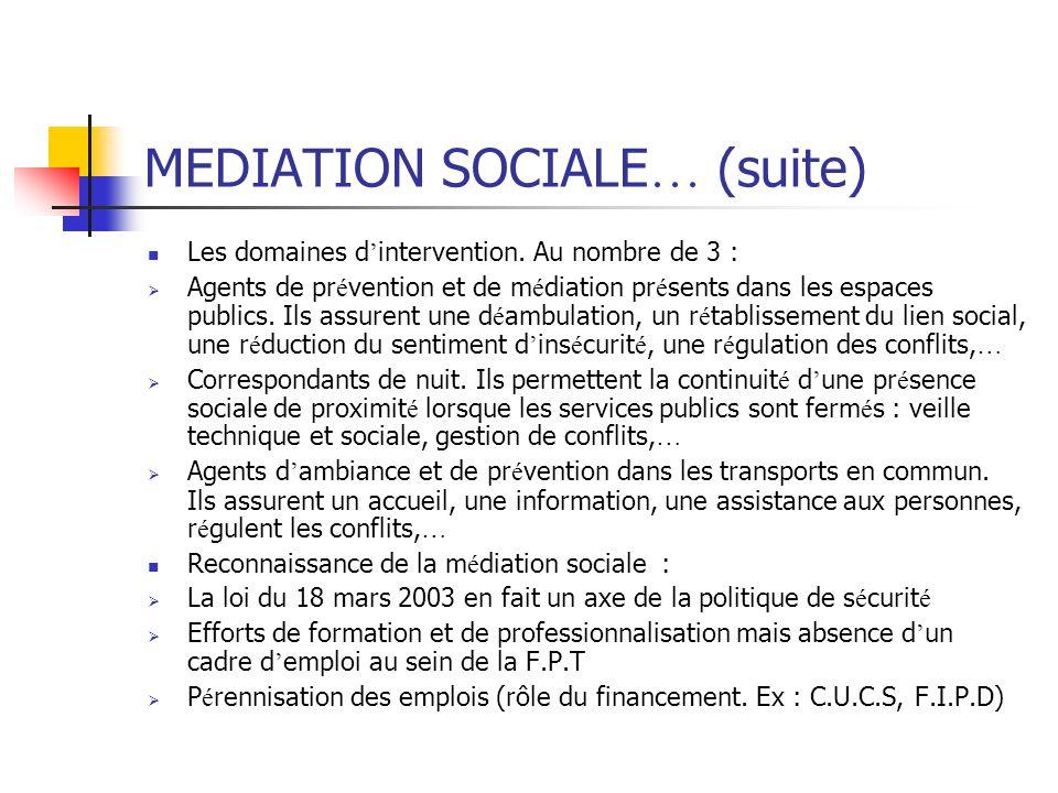 MEDIATION SOCIALE … (suite) Les domaines d intervention. Au nombre de 3 : Agents de pr é vention et de m é diation pr é sents dans les espaces publics