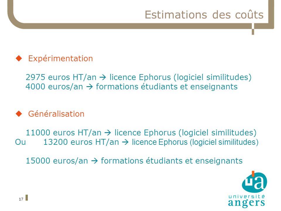 17 Estimations des coûts Expérimentation 2975 euros HT/an licence Ephorus (logiciel similitudes) 4000 euros/an formations étudiants et enseignants Gén