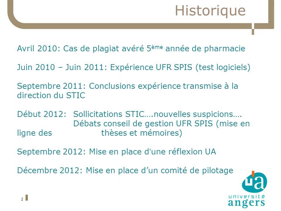 Historique 2 Avril 2010: Cas de plagiat avéré 5 ème année de pharmacie Juin 2010 – Juin 2011: Expérience UFR SPIS (test logiciels) Septembre 2011: Conclusions expérience transmise à la direction du STIC Début 2012: Sollicitations STIC….nouvelles suspicions….