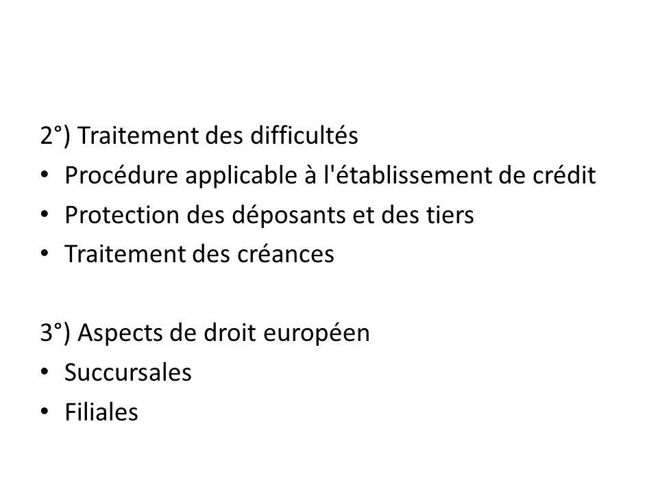 2°) Traitement des difficultés Procédure applicable à l établissement de crédit Protection des déposants et des tiers Traitement des créances 3°) Aspects de droit européen Succursales Filiales