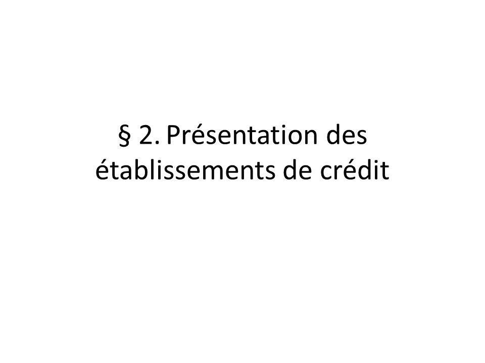 § 2.Présentation des établissements de crédit
