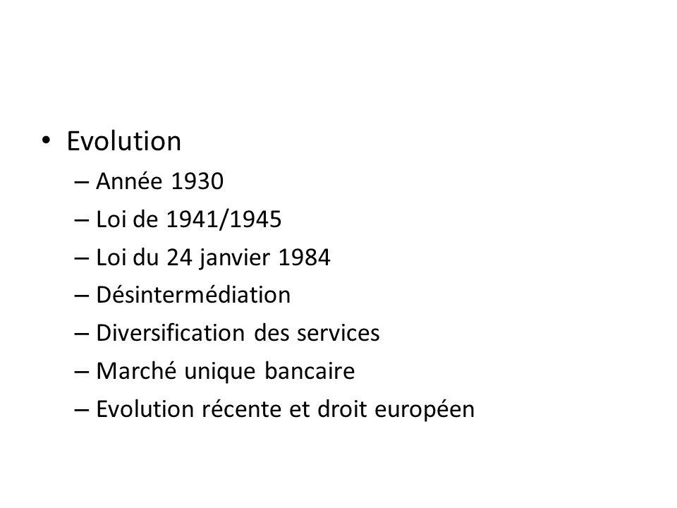 Evolution – Année 1930 – Loi de 1941/1945 – Loi du 24 janvier 1984 – Désintermédiation – Diversification des services – Marché unique bancaire – Evolution récente et droit européen