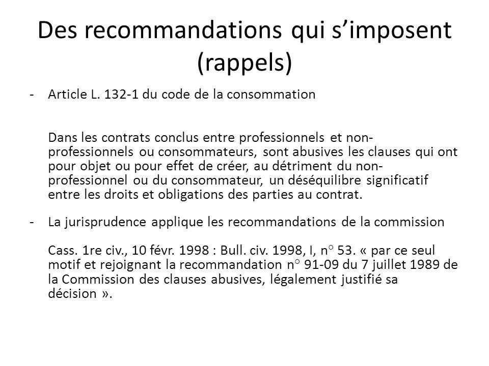 Des recommandations qui simposent (rappels) -Article L.