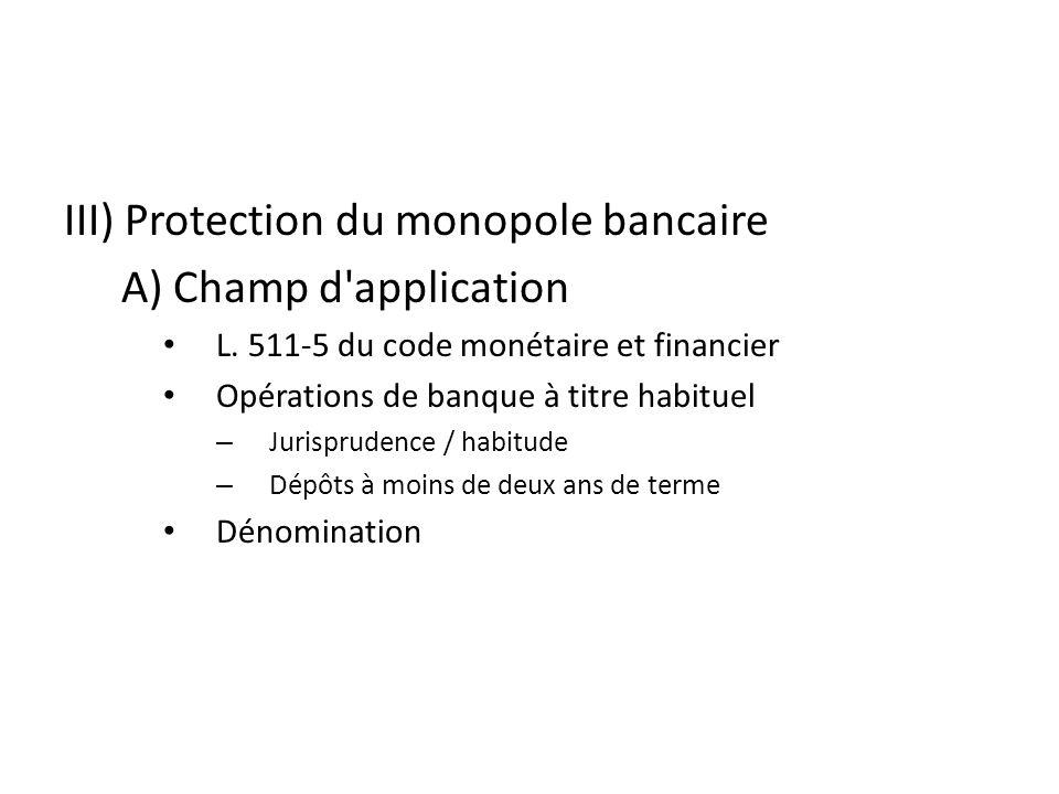 III) Protection du monopole bancaire A) Champ d application L.