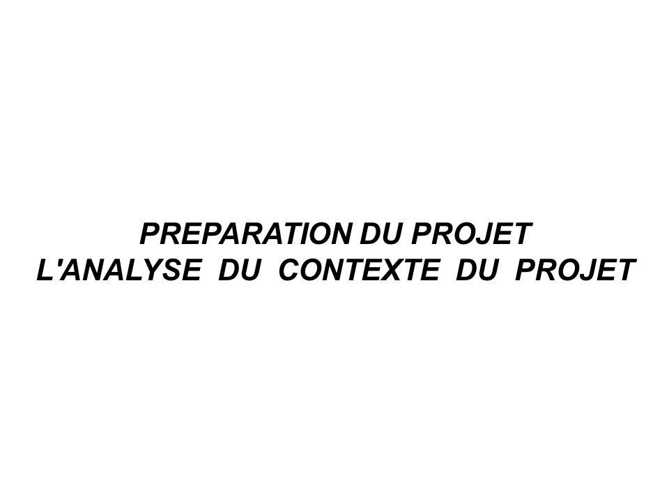PREPARATION DU PROJET L ANALYSE DU CONTEXTE DU PROJET
