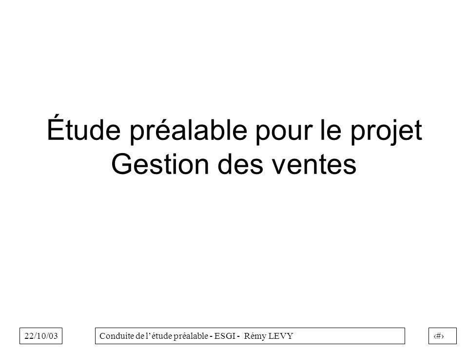 22/10/031Conduite de létude préalable - ESGI - Rémy LEVY Étude préalable pour le projet Gestion des ventes