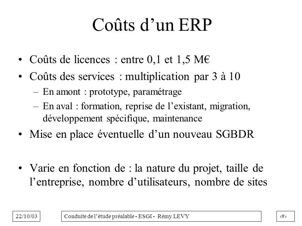 22/10/0316Conduite de létude préalable - ESGI - Rémy LEVY Coûts dun ERP Coûts de licences : entre 0,1 et 1,5 M Coûts des services : multiplication par 3 à 10 –En amont : prototype, paramétrage –En aval : formation, reprise de lexistant, migration, développement spécifique, maintenance Mise en place éventuelle dun nouveau SGBDR Varie en fonction de : la nature du projet, taille de lentreprise, nombre dutilisateurs, nombre de sites