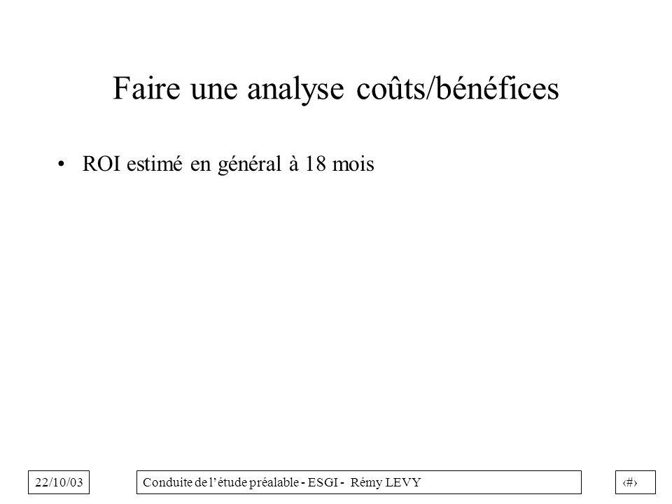 22/10/0319Conduite de létude préalable - ESGI - Rémy LEVY Faire une analyse coûts/bénéfices ROI estimé en général à 18 mois