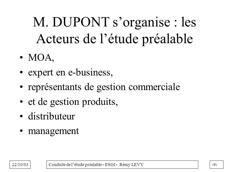 22/10/032Conduite de létude préalable - ESGI - Rémy LEVY M. DUPONT sorganise : les Acteurs de létude préalable MOA, expert en e-business, représentant