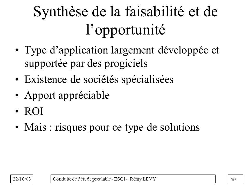 22/10/0321Conduite de létude préalable - ESGI - Rémy LEVY Synthèse de la faisabilité et de lopportunité Type dapplication largement développée et supp
