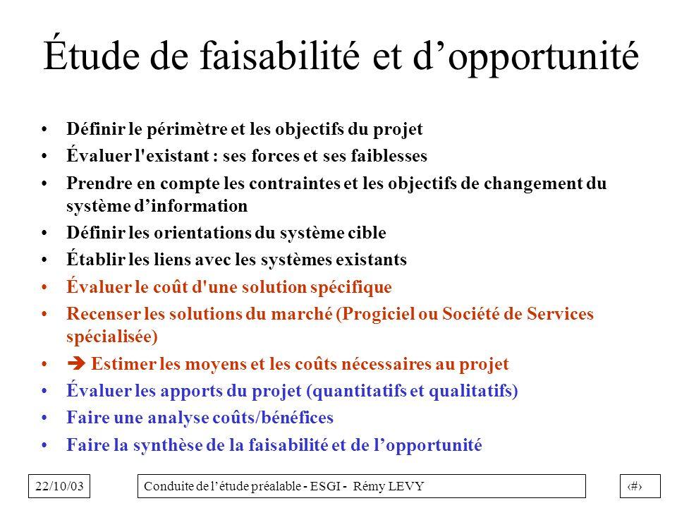 22/10/033Conduite de létude préalable - ESGI - Rémy LEVY Étude de faisabilité et dopportunité Définir le périmètre et les objectifs du projet Évaluer