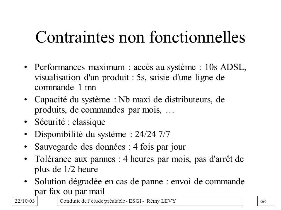 22/10/0337Conduite de létude préalable - ESGI - Rémy LEVY Contraintes non fonctionnelles Performances maximum : accès au système : 10s ADSL, visualisation d un produit : 5s, saisie d une ligne de commande 1 mn Capacité du système : Nb maxi de distributeurs, de produits, de commandes par mois, … Sécurité : classique Disponibilité du système : 24/24 7/7 Sauvegarde des données : 4 fois par jour Tolérance aux pannes : 4 heures par mois, pas d arrêt de plus de 1/2 heure Solution dégradée en cas de panne : envoi de commande par fax ou par mail