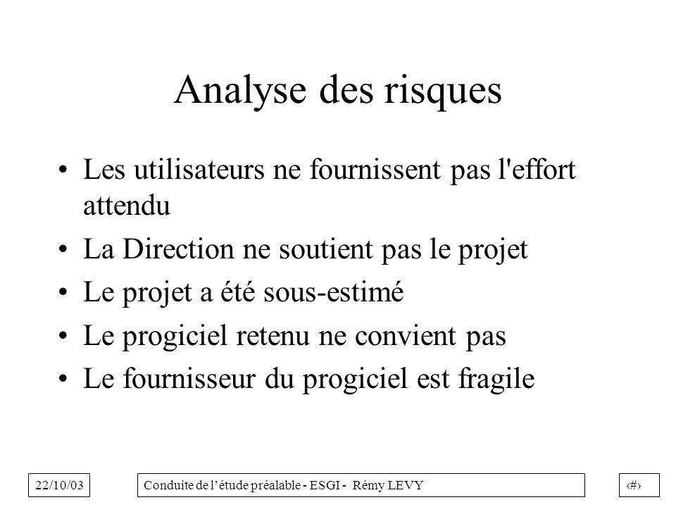 22/10/0338Conduite de létude préalable - ESGI - Rémy LEVY Analyse des risques Les utilisateurs ne fournissent pas l'effort attendu La Direction ne sou